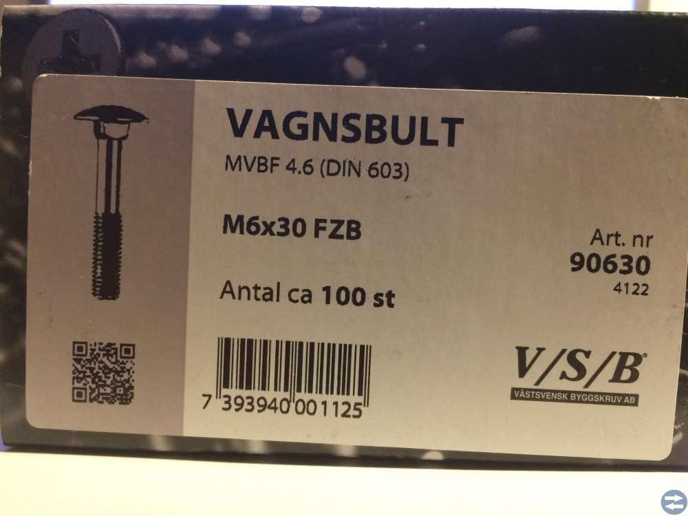 Vagnsbult M6x30 ca 100 st (90630)