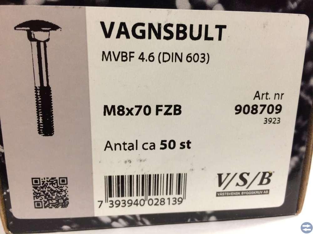Vagnsbult M8x70 ca 50 st (908709)