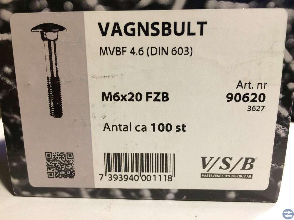 Vagnsbult M6x20 ca 100 st (90620)