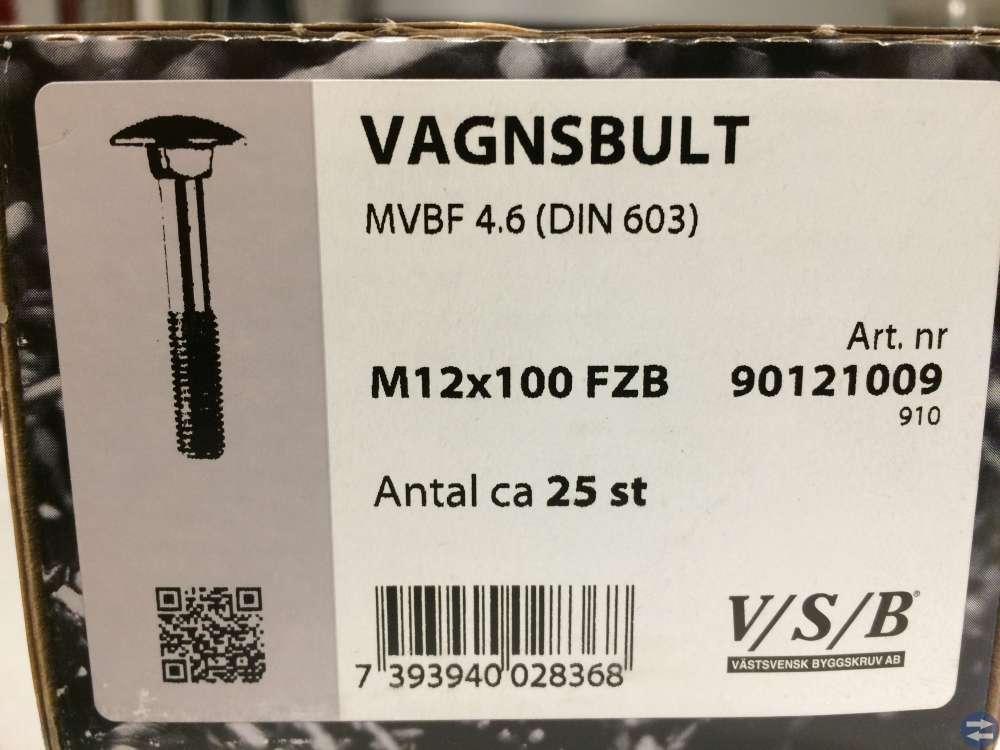 Vagnsbult M12x100 V/S/B ca 25 st (90121009)