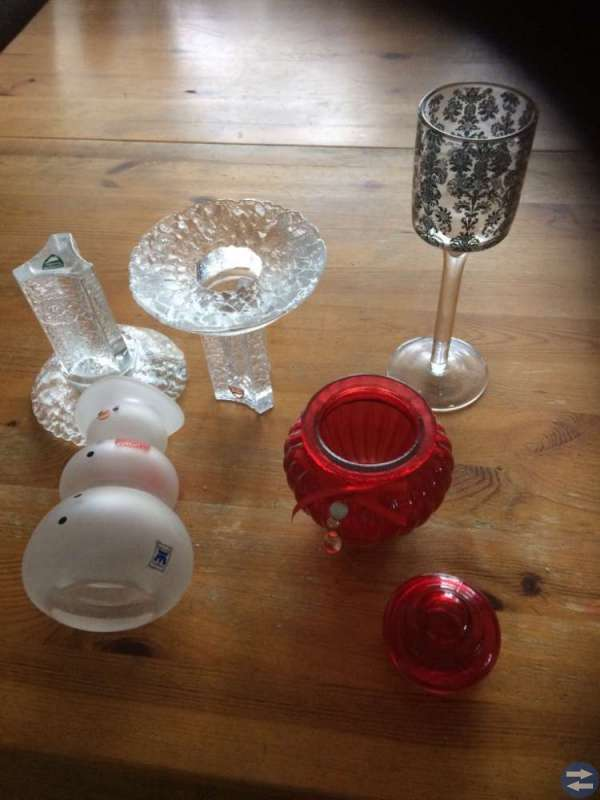 Ljuslyktor, vaser och skålar mm