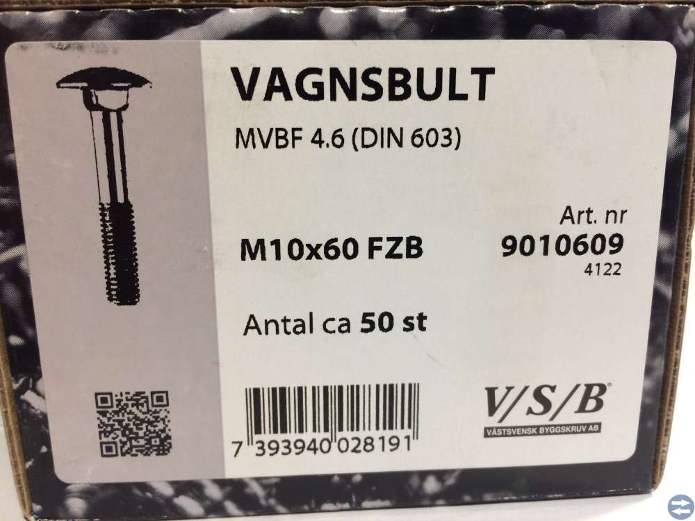 Vagnsbult M10x60 ca 50 st (9010609)