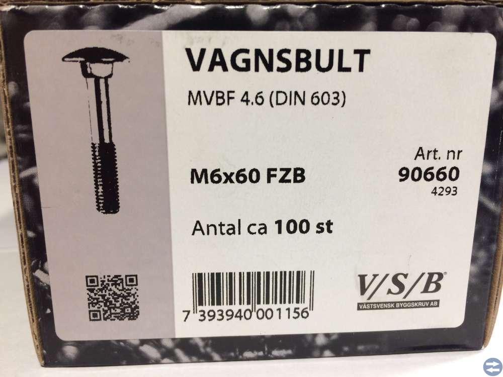 Vagnsbult M6x60 ca 100 st (90660)