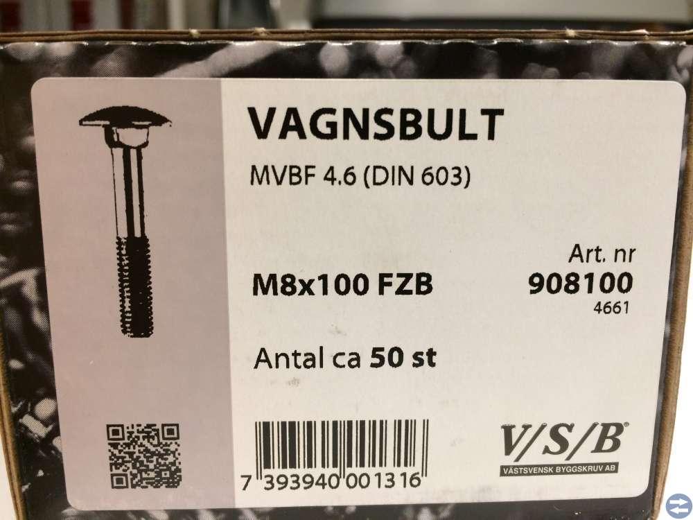 Vagnsbult M8x100 ca 50 st (908100)