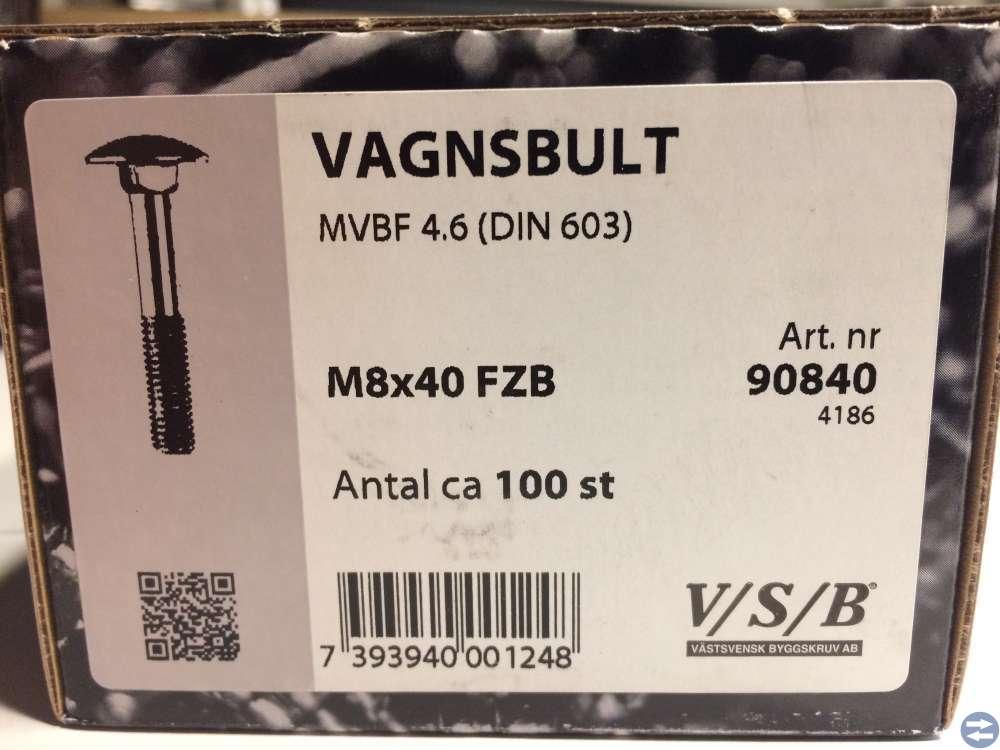 Vagnsbult M8x40 ca 100 st (90840)
