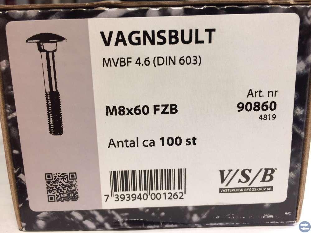 Vagnsbult M8x60 ca 100 st (90860)