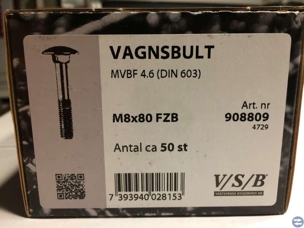 Vagnsbult MVBF 4.6 M8x80 FZB ca 50st (908809)