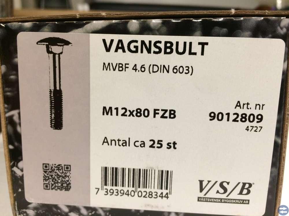 Vagnsbult M12x80 ca 25 st (9012809)
