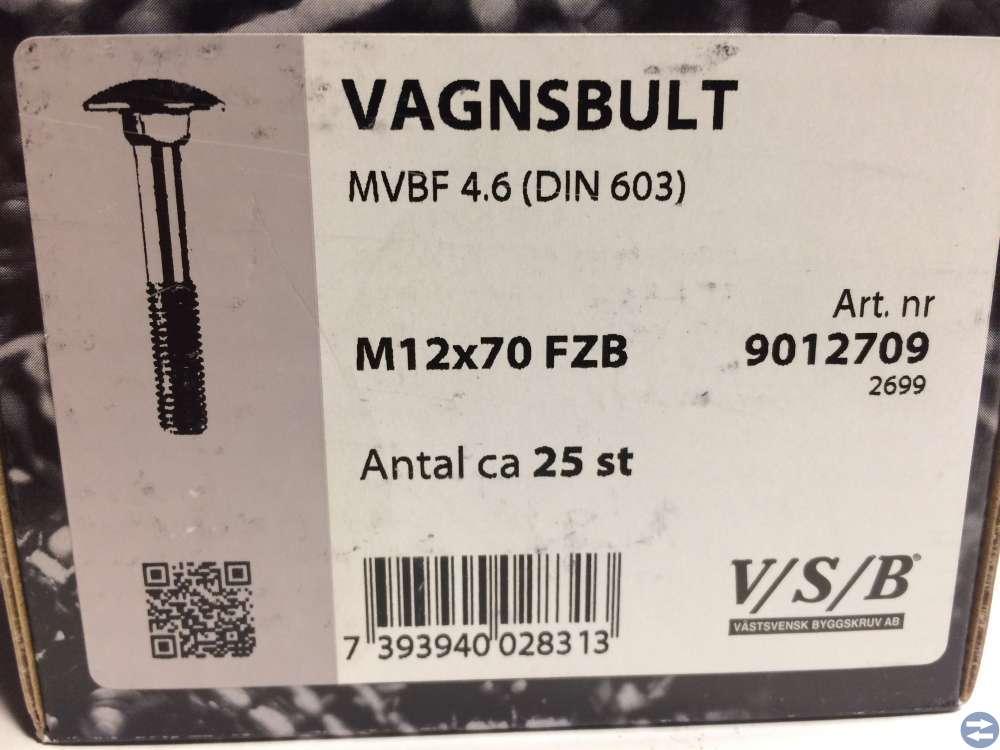 Vagnsbult M12x70 ca 25 st (9012709)