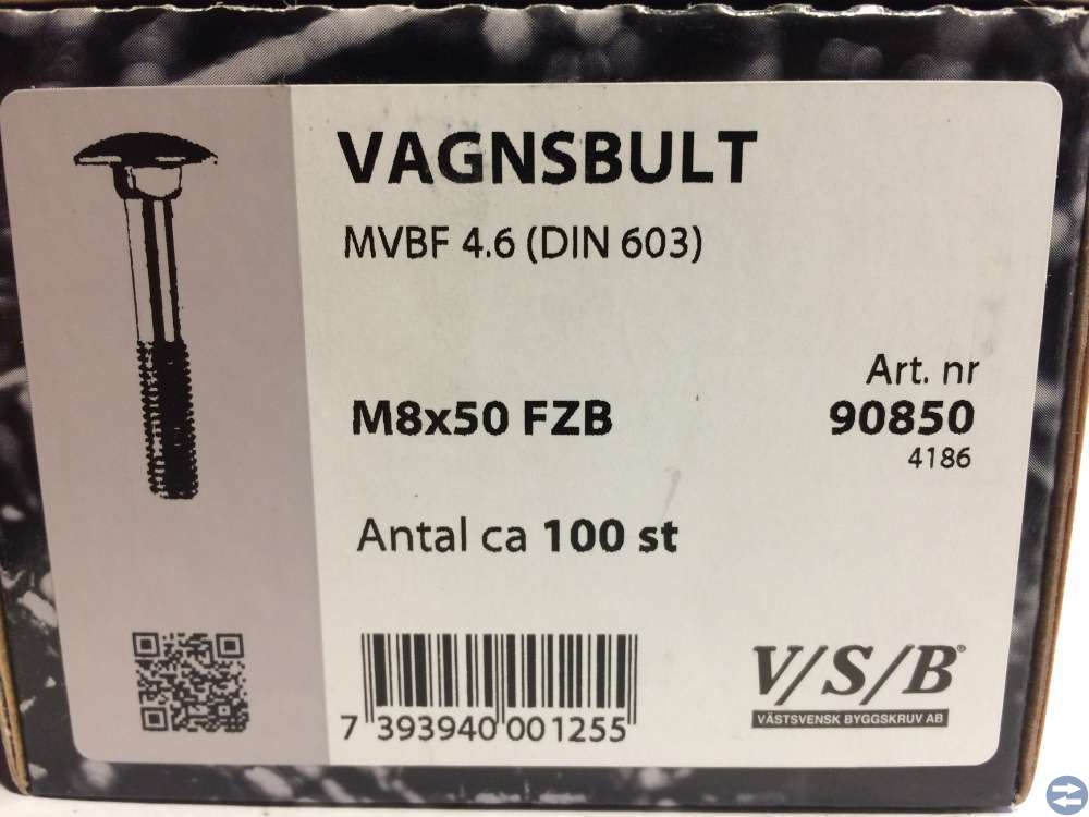 Vagnsbult M8x50 ca 100 st (90850)