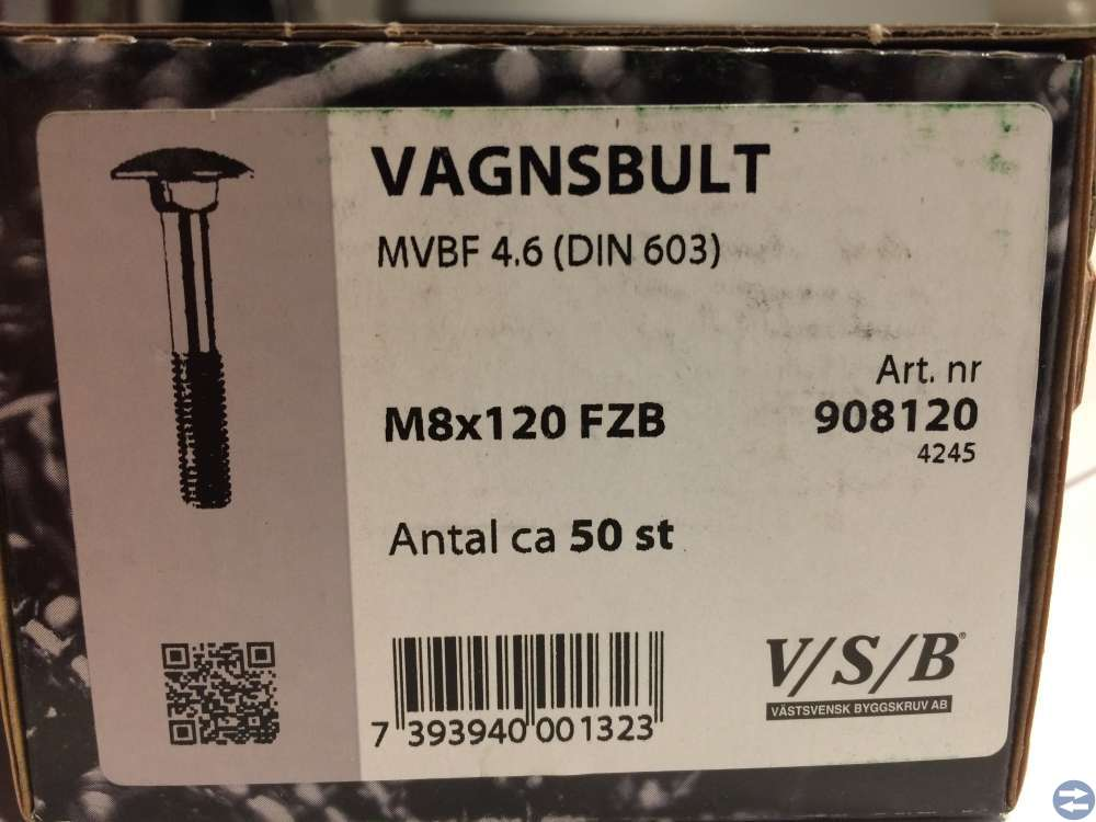 Vagnsbult M8x120 ca 50 st (908120)