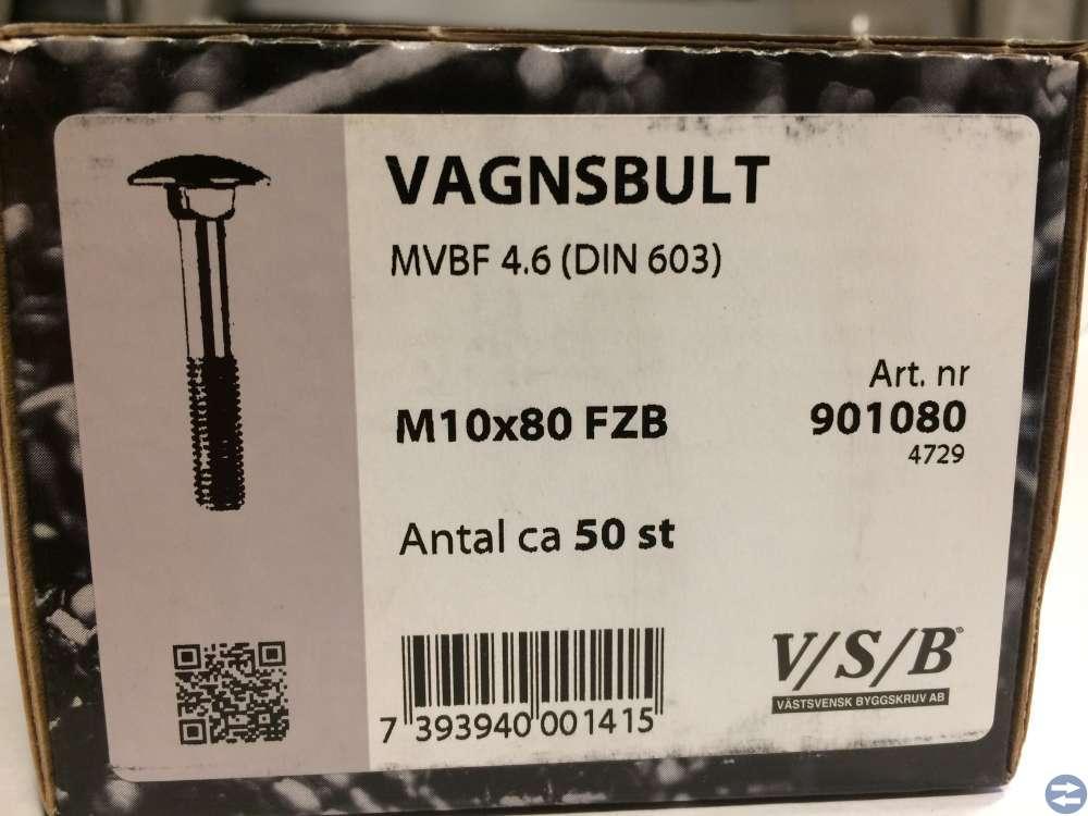 Vagnsbult M10x80 ca 50 st (901080)