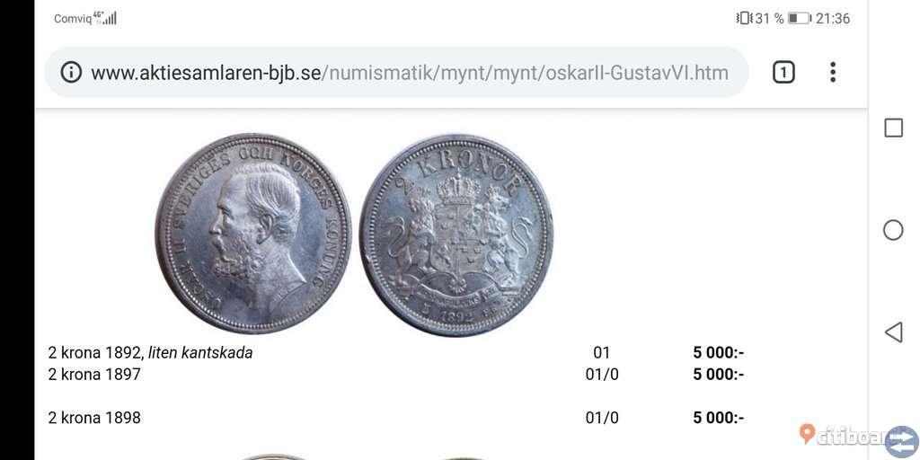 Silvermynt från 1892