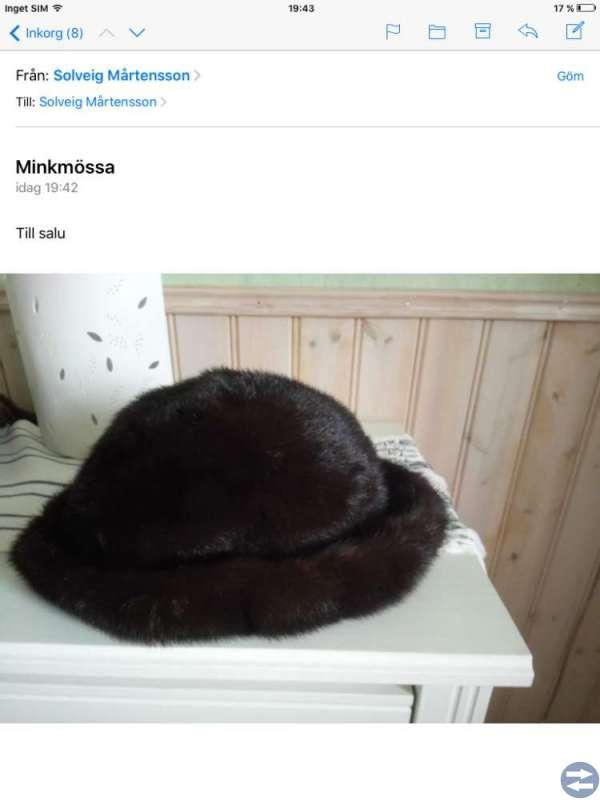 Minkpäls med mössa