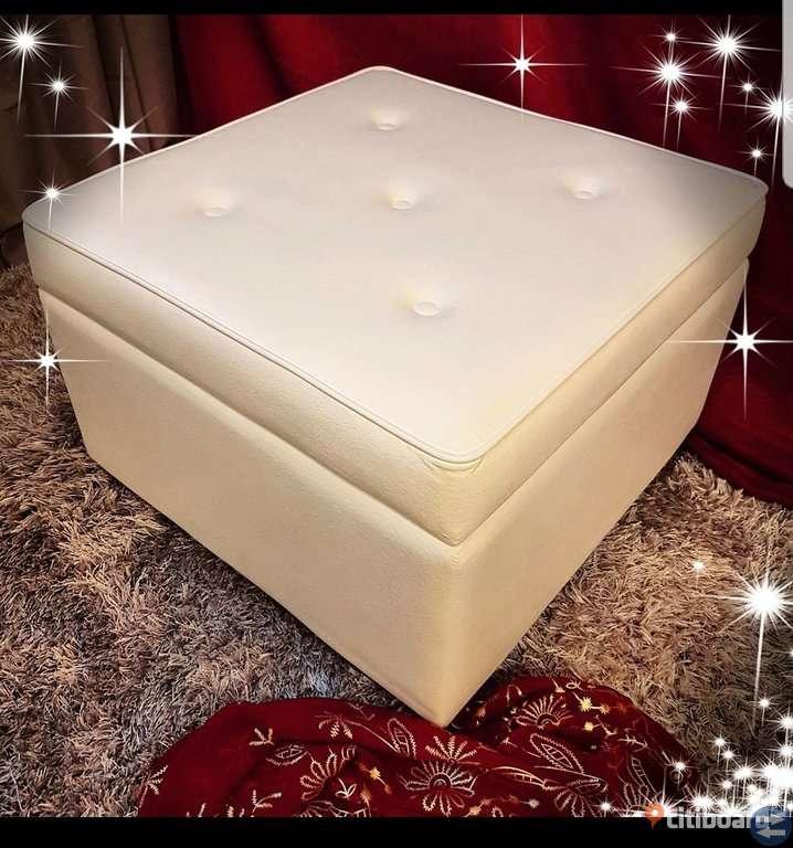 Fynda en unik, vit pall med förvaring!