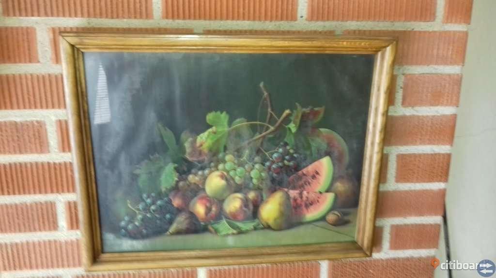 Stor Tavla med Belysning - Gammal Tavla med Frukt