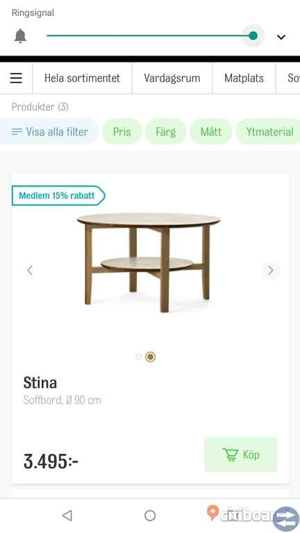Soffbord Stina från Mio. Massiv ek Umeå citiboard