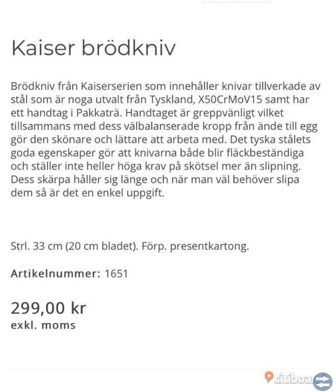 Kvalitets kniv från Vinga of Sweden!