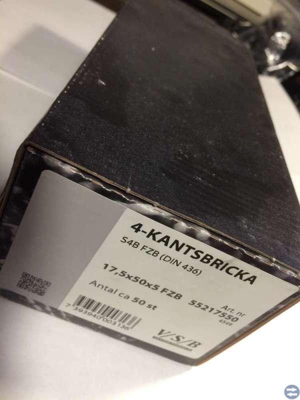 Fyrkantsbricka 17.5x50x5 50 st VSB