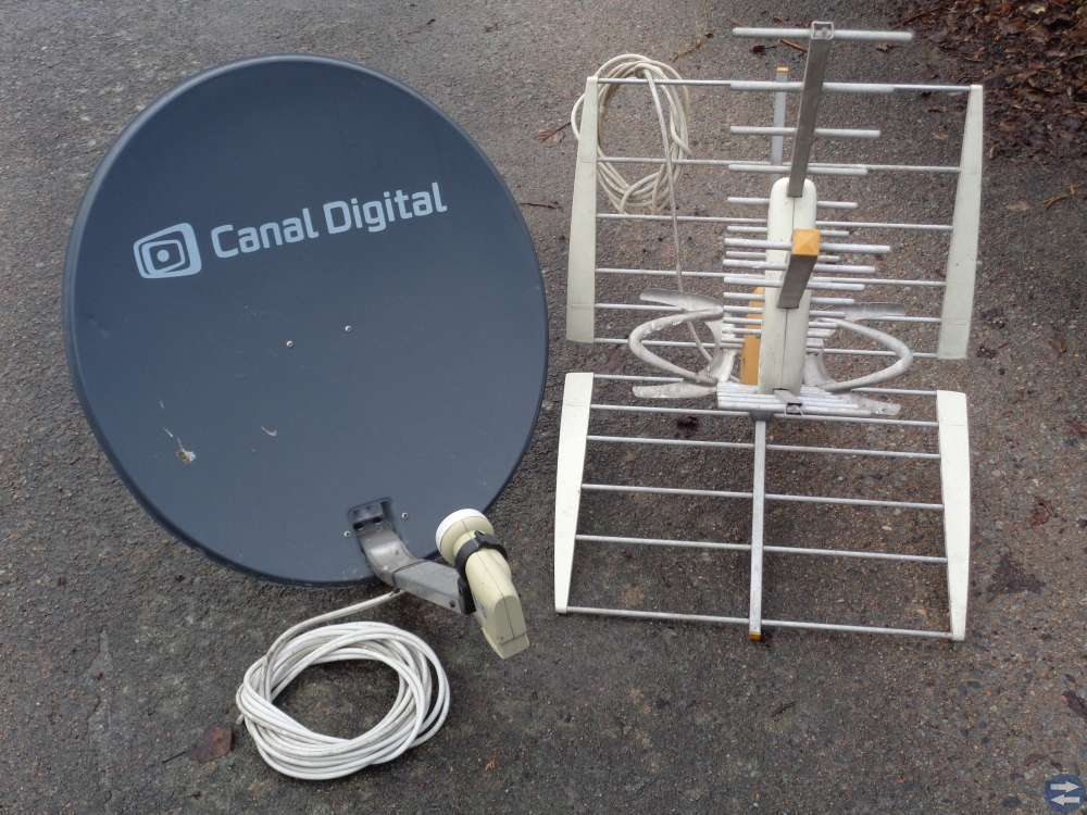 Parabolatenn och tillbehör samt 1st analog antenn