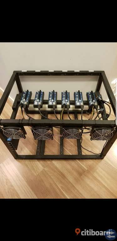 Krypto crypto valutor 6x gpu mining rig ram med risers bitcoin ethereum