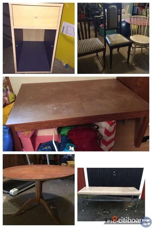 Massagebänk, runt bord, soffbord, trä stolar, hurts, leksaker