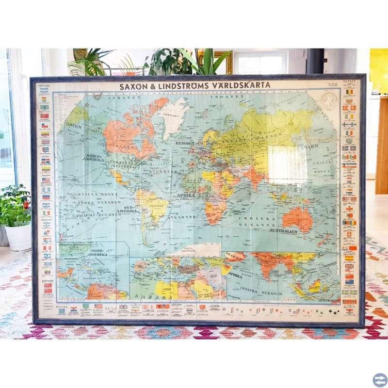 Innglasset Saxon & Lindströms Världskarta 1938