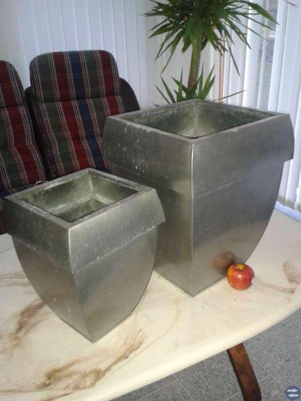 Galvaniserade krukor i plåt, 10 st