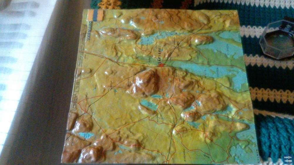 Unik topografisk tavla tillverkad i gjutjärn