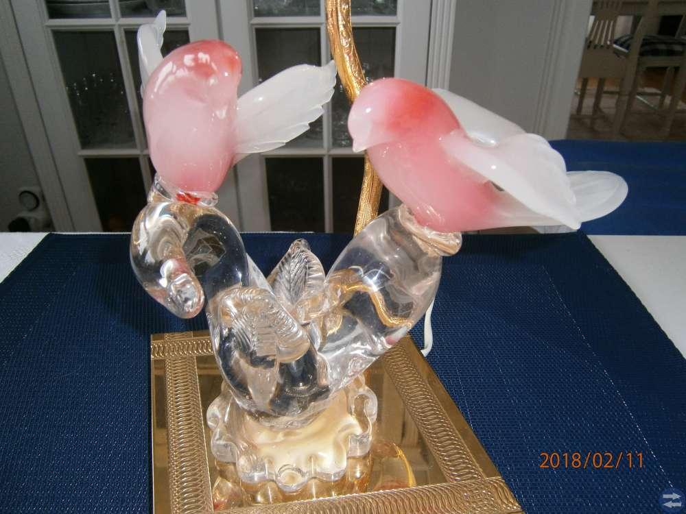 Bordslampa med Murano fåglar