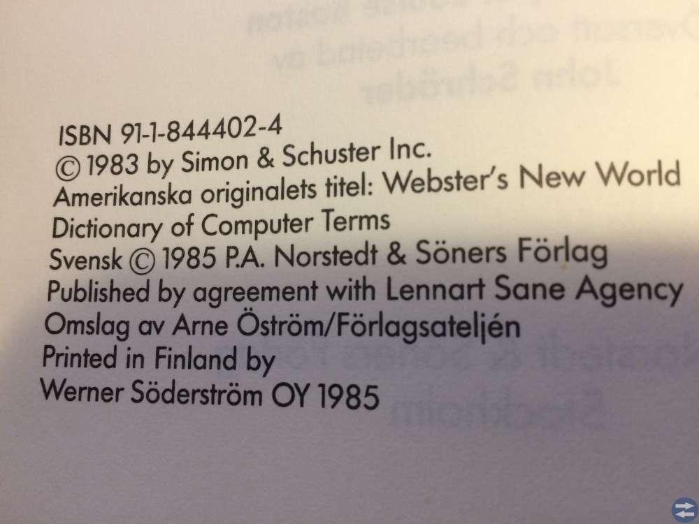 Norstedts Dataordbok - Tryckt 1985