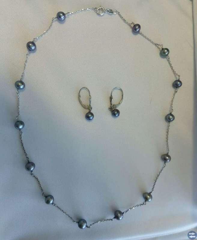 Italiensk silver och svart pärl uppsättning