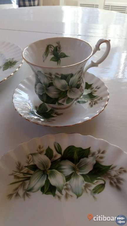 Kaffeservis, Royal Albert Trillium, grön dekor