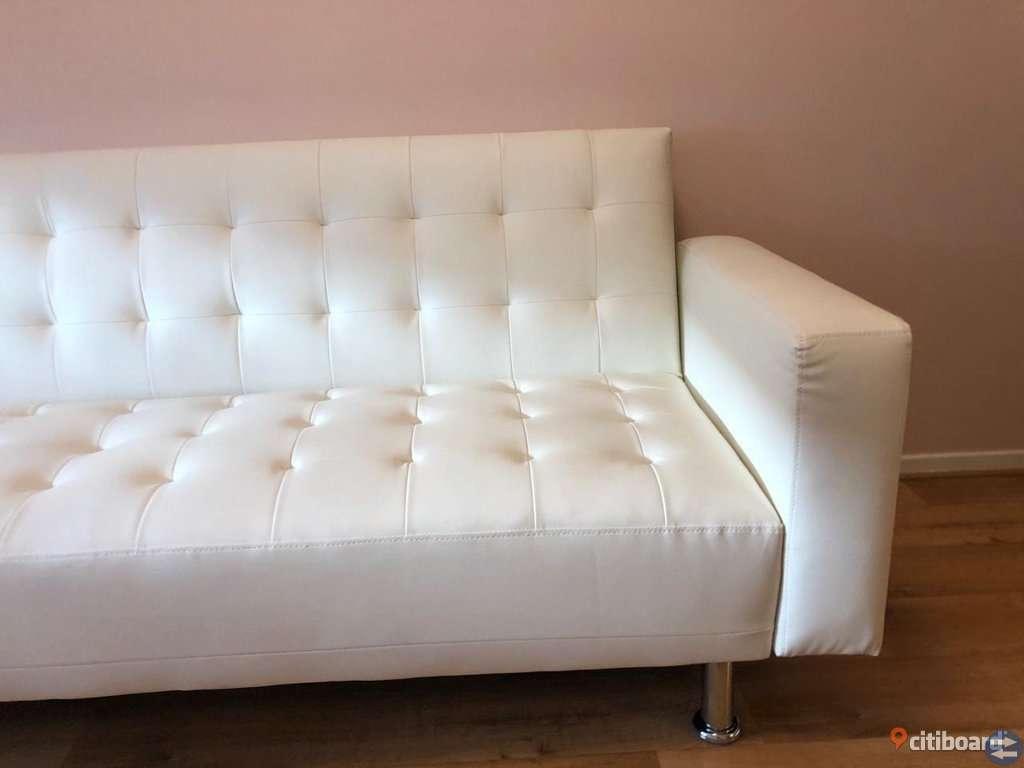 Nyskick vit läder divan bäddsoffa