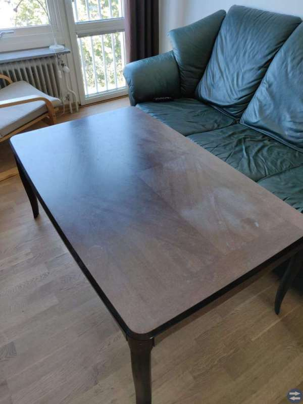 Hylla med vitrinskåp (teak) soffbord bortskänkes