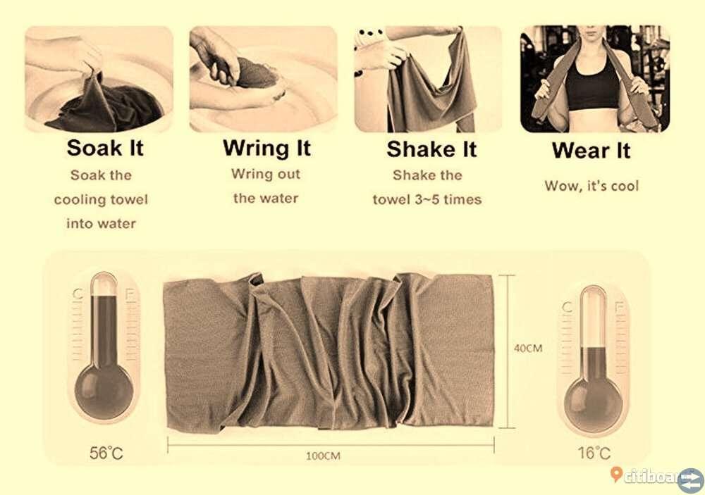 Kyl-hals/handduk i lättvikt mikrofiber; flera färger.