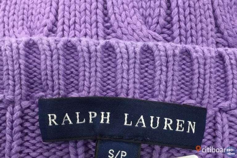 Ralph Lauren ljuslila kabelstickad tröja med grönturkos häst
