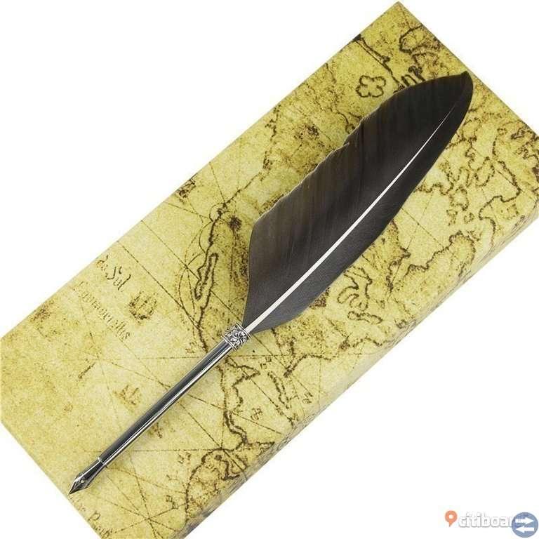 Fjäderpenna med bläck och 5 olika spets