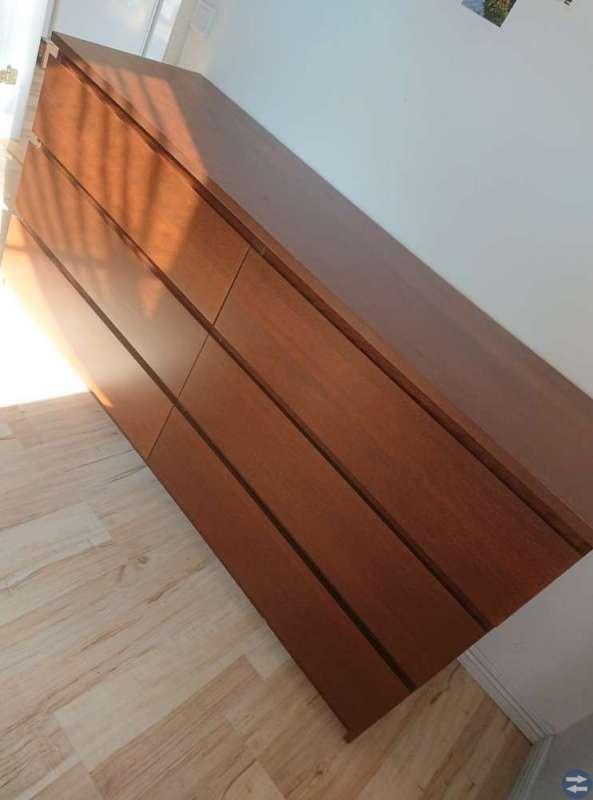 MALM byrå med 6 lådor brun trä askfaner