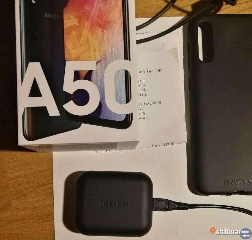 Samsung Galaxy A50 (helt ny i obruten förpackning och kvitto + garanti + skal) + true wireless-lurar