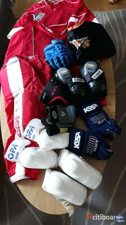 Skridskor, skidor, hjälmar, judodräkt