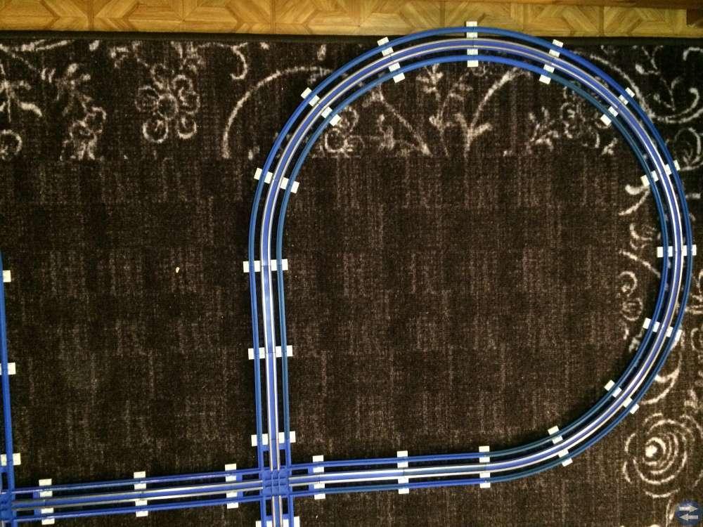 Legotågbana blå med 12 volt elektriska skenor